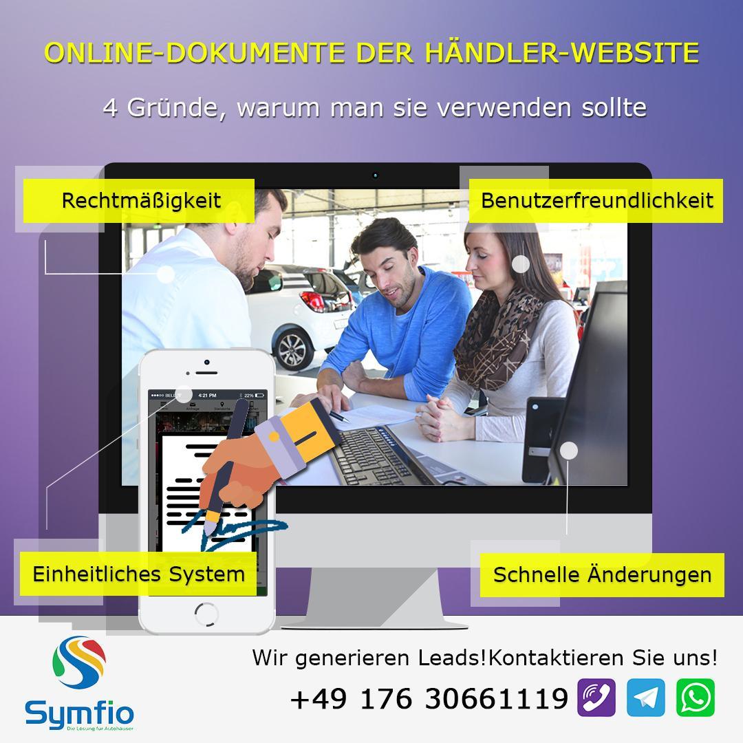 Online-Dokumente der Händler-Website