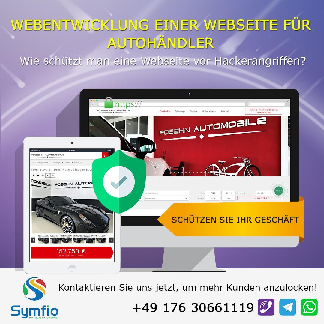 Webentwicklung einer Webseite für Autohändler. Wie schützt man eine Webseite vor Hackerangriffen?