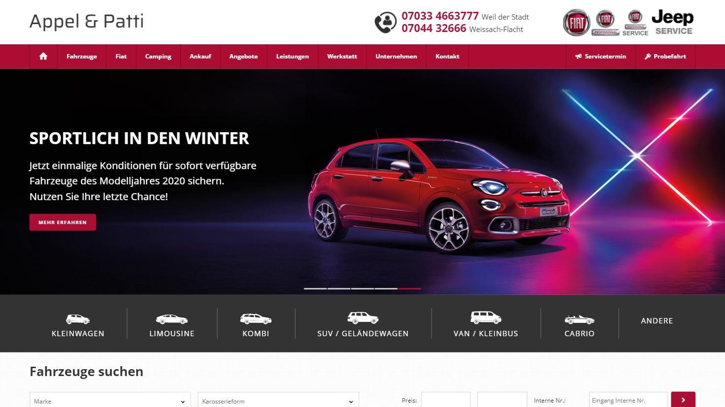 Autohaus Appel & Patti - autorisierter Fiat, Fiat Professional und Jeep Vertragspartner