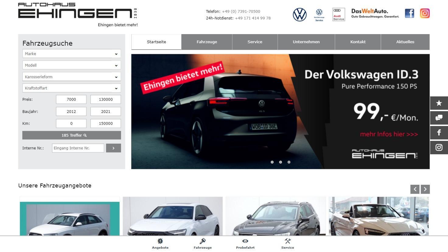 Automarkt Ehingen - Vertragspartner von Volkswagen, Skoda, Audi in Ehingen