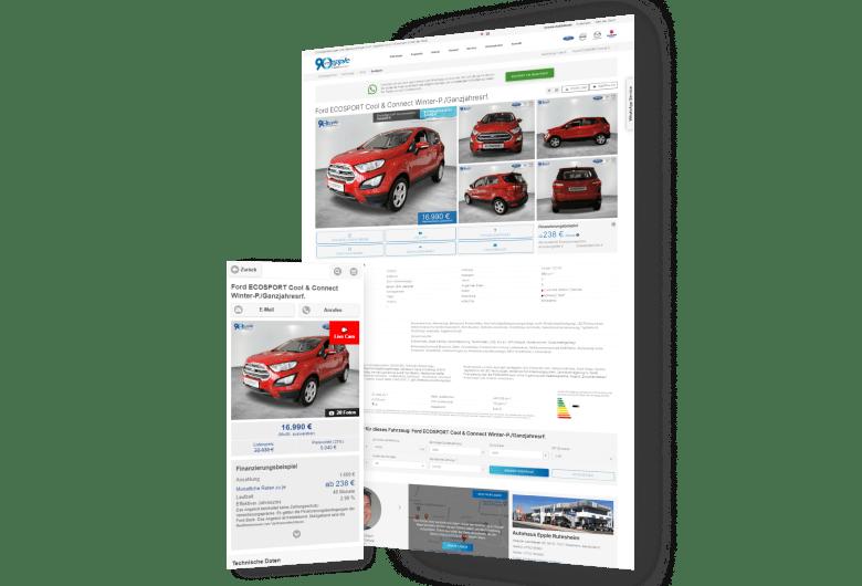Autohaus Website Design für Autohaus Epple - Symfio Homepage für Ford-Händler