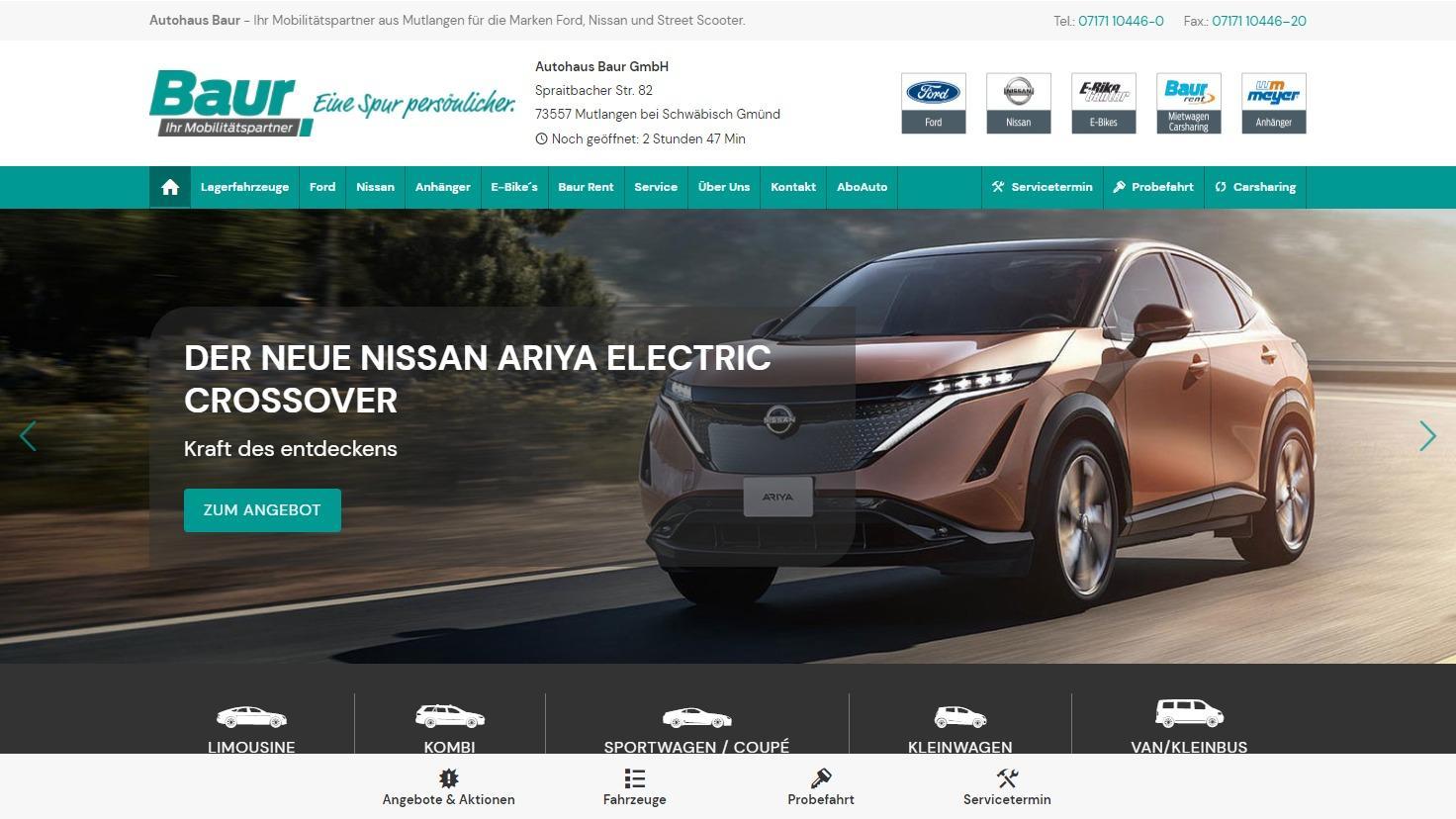 Autohaus Baur - Symfio - Homepage für Markenhändler erstellen