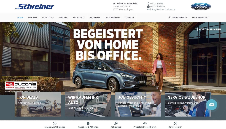Schreiner Automobile - Symfio Homepage für Ford-Händler erstellen