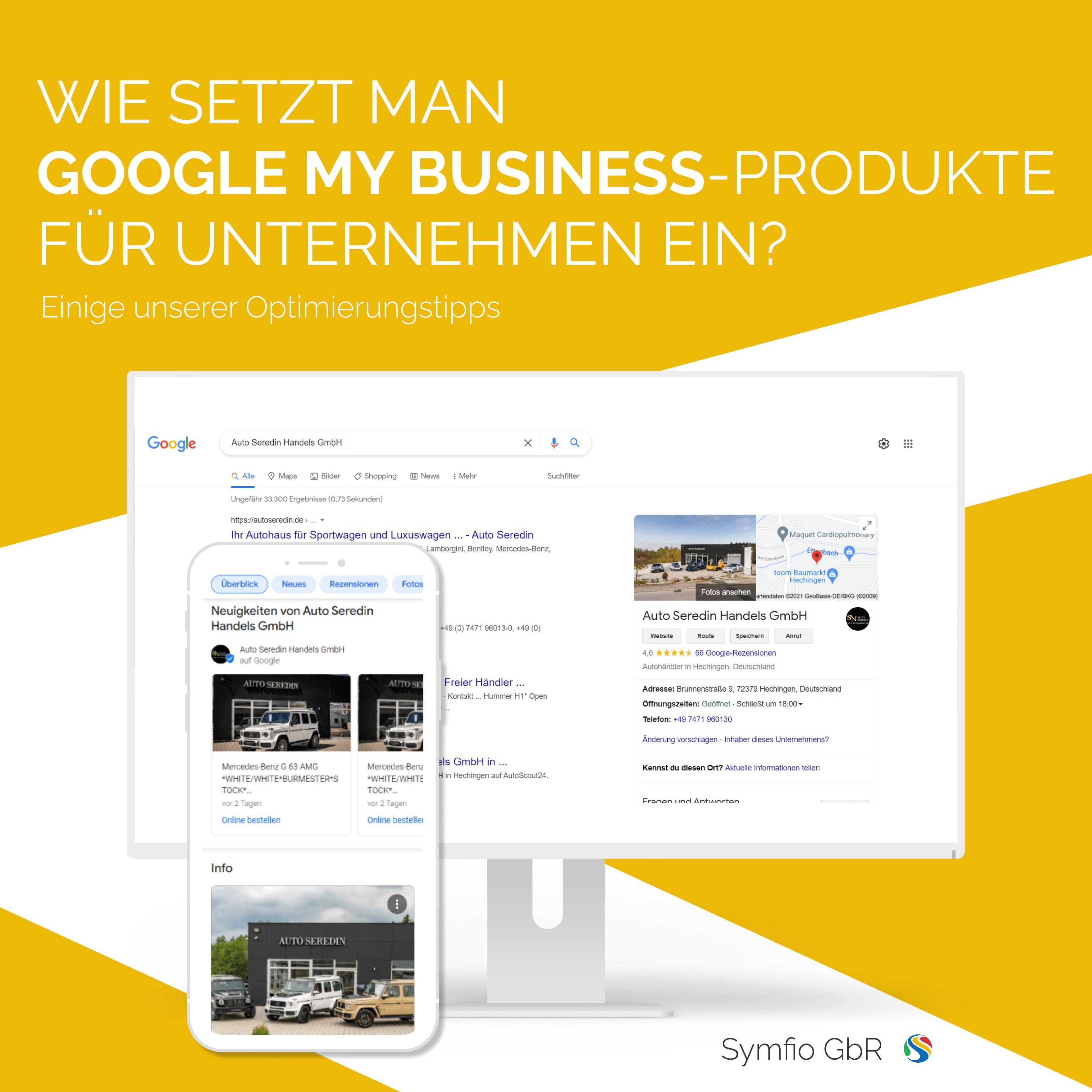 Google My Business-Produkte für Unternehmen